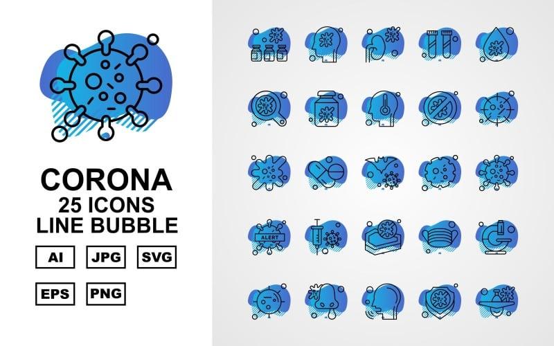 Набор иконок 25 премиум Corona Virus Line Bubble