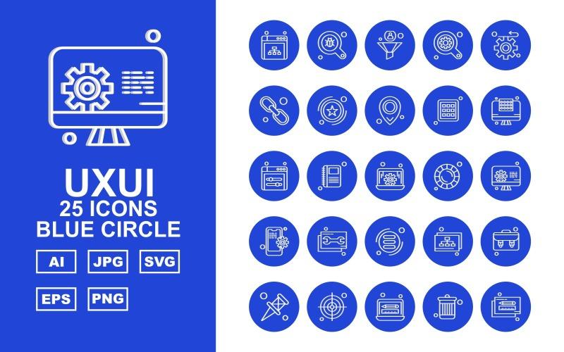 Набор из 25 значков с синим кругом Premium UXUI II