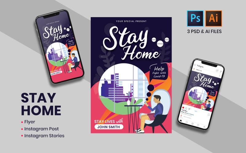 Оставайтесь дома Шаблон постов и историй в Instagram для социальных сетей