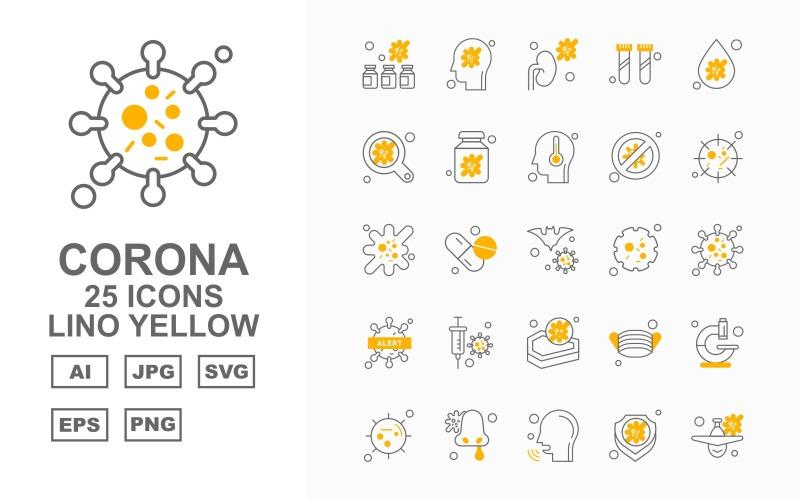 25 премиум Corona Virus Lino Yellow Icon Set