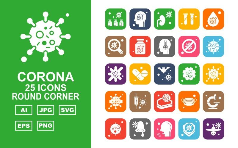 25 Премиум Corona Virus Round Corner Icon Set