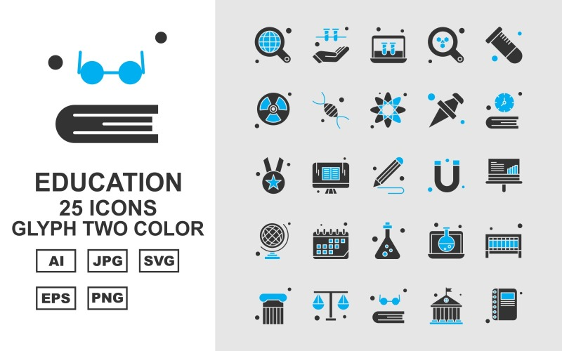 Набор двухцветных иконок 25 премиальных образовательных символов