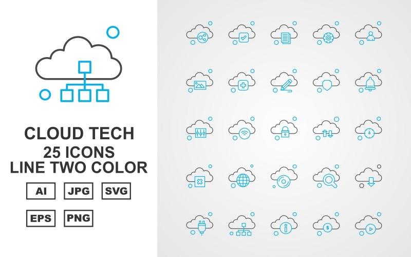 Набор двухцветных значков 25 Premium Cloud Tech Line