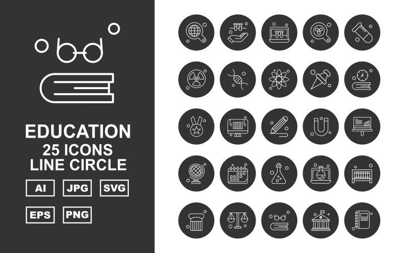Набор иконок 25 премиальных образовательных линий