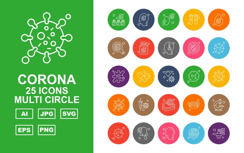 Набор иконок 25 Premium Corona Virus Multi Circle