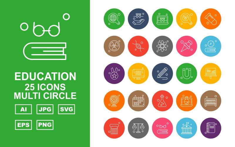 Набор иконок 25 Premium Education Multi Circle