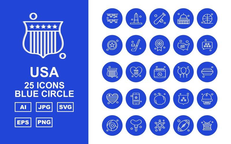 Набор иконок 25 премиум США с синим кругом