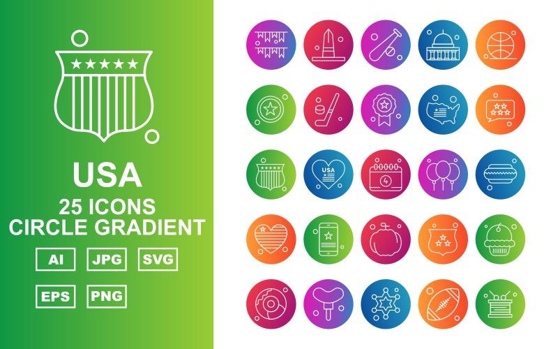Набор из 25 градиентных иконок премиум-класса в США