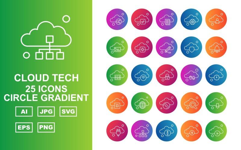 Набор из 25 градиентных значков Premium Cloud Tech Circle