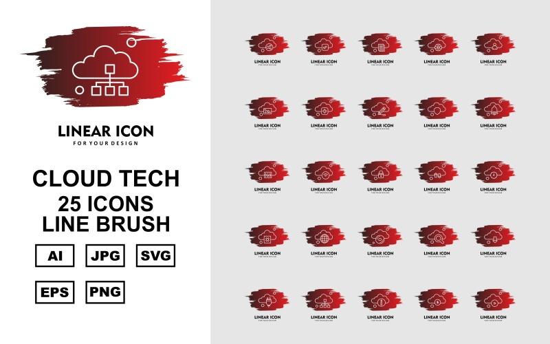 Набор из 25 кистей Premium Cloud Tech Line Brush Icon Set