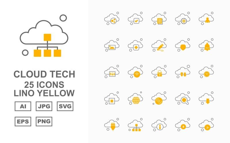 Набор из 25 желтых значков Premium Cloud Tech Lino