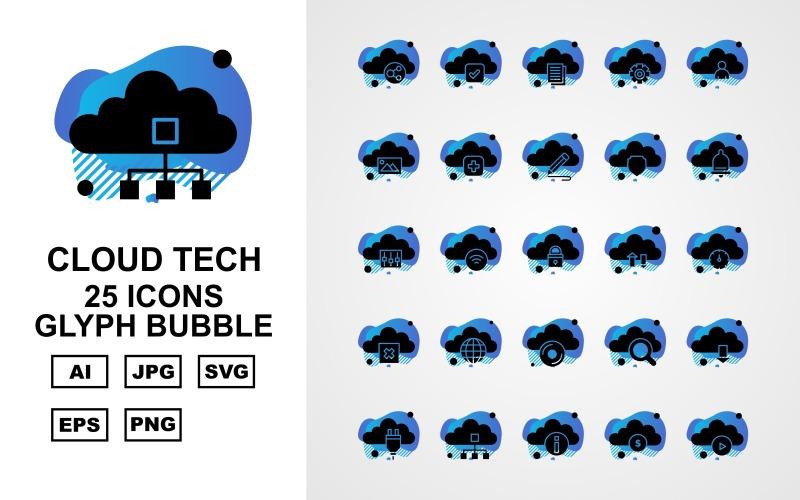 Набор из 25 значков пузыря с глифами премиум-класса Cloud Tech
