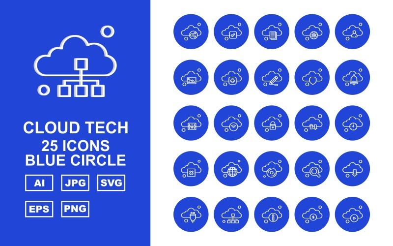 Набор из 25 значков с синим кругом Premium Cloud Tech