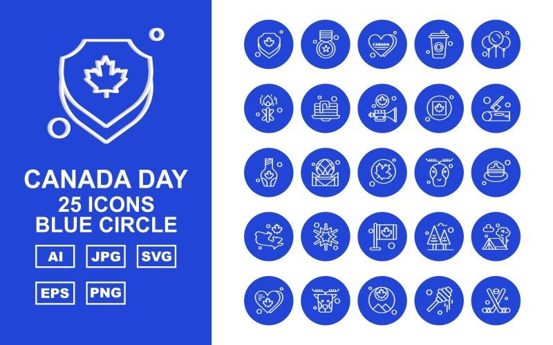 Набор из 25 значков с синим кругом Premium Office II