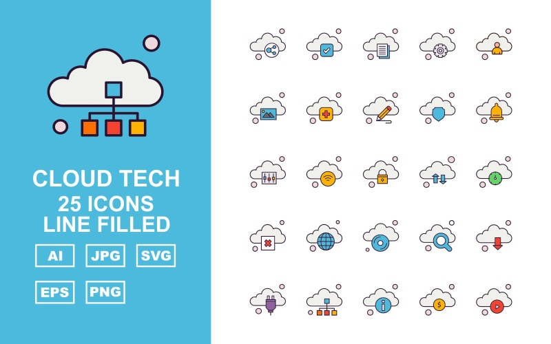 25 премиальных облачных технологий Line Filled Icon Set