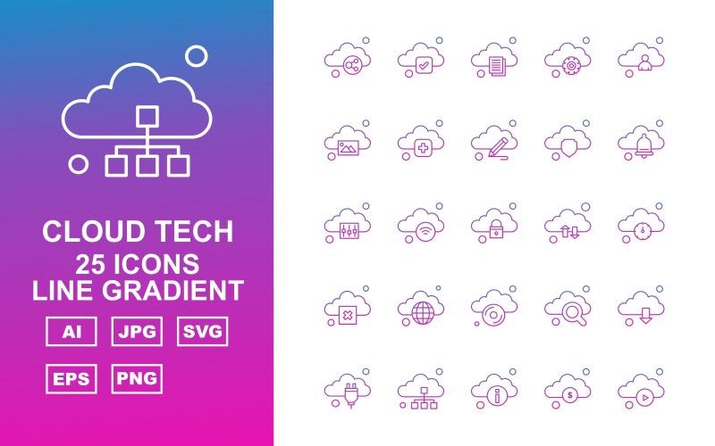 25 премиальных облачных технологий Line Gradient Icon Set