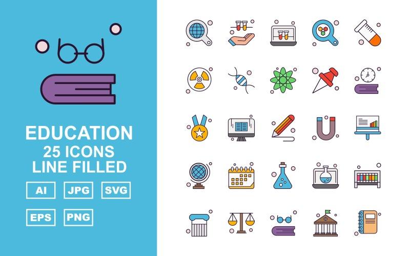 25 премиальных образовательных линий заполнены набор иконок