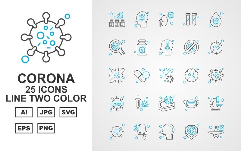 25 Премиум Corona Virus Line двухцветный набор иконок