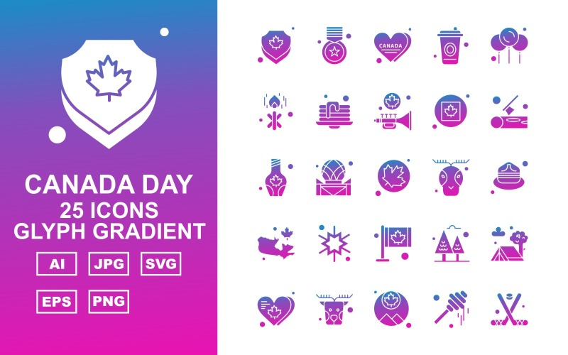 25 премиум канадский день глиф градиентный набор иконок