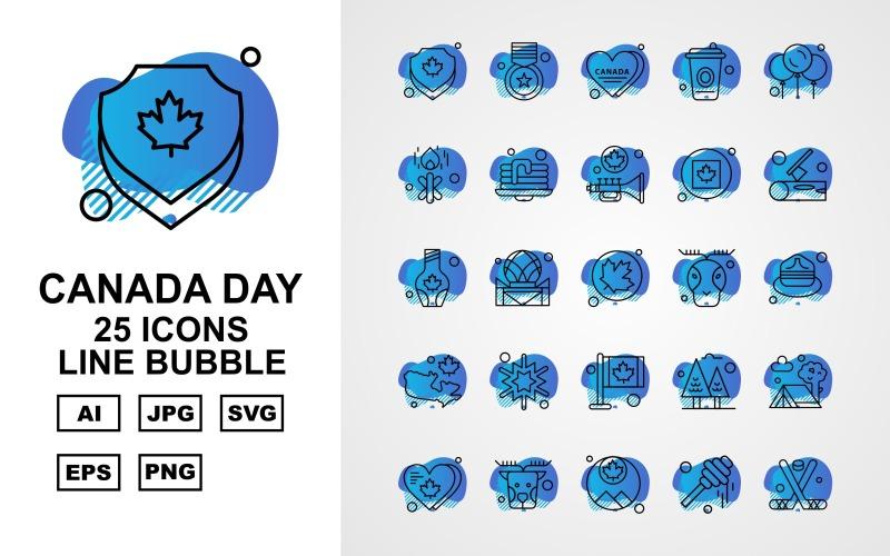 25 Премиум Канадский день Line Bubble Icon Set