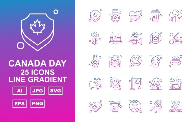25 Премиум Канадский день Line Gradient Icon Set