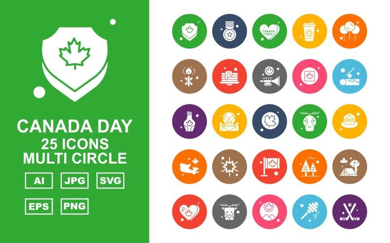 25 Премиум Канадский день Multi Circle Icon Set