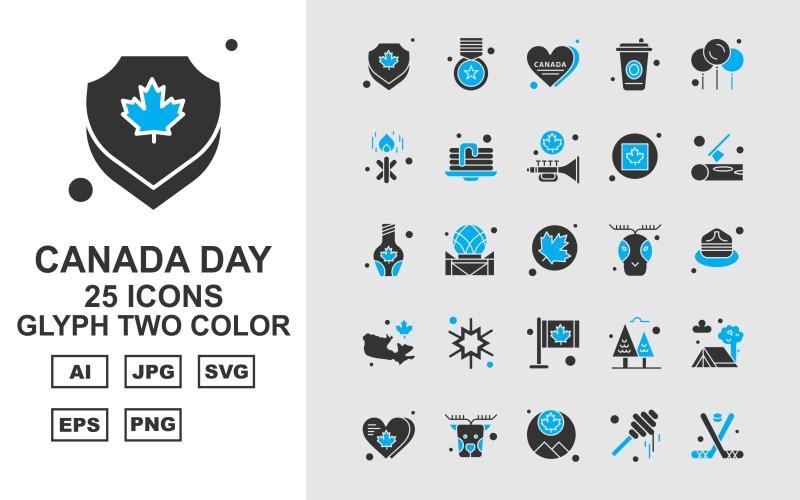 25 премиум канадский день символ двухцветный набор иконок