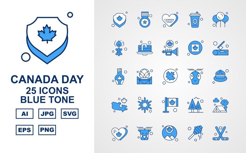 25 премиум канадский день синий набор иконок