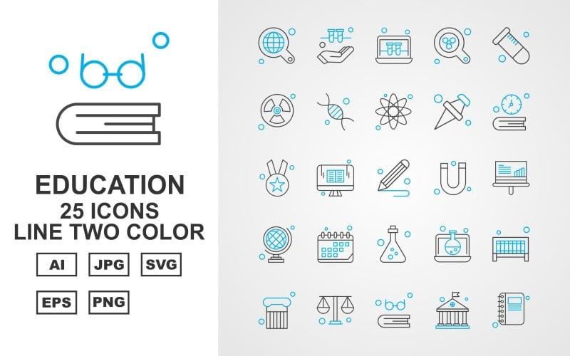 25 премиум образовательная линия двухцветный набор иконок