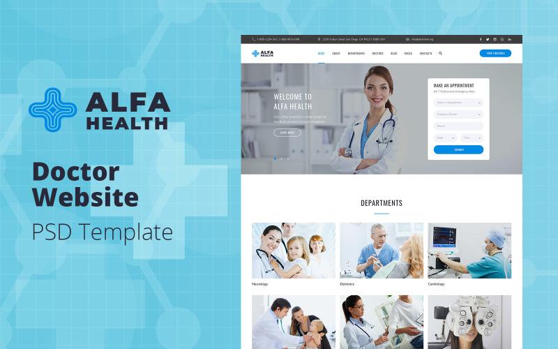 Альфа Здоровье - PSD шаблон сайта врача