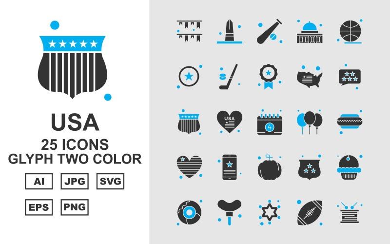 Набор двухцветных значков 25 премиальных символов США