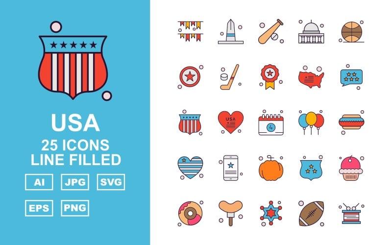 Набор иконок из 25 премиальных США, заполненных линией