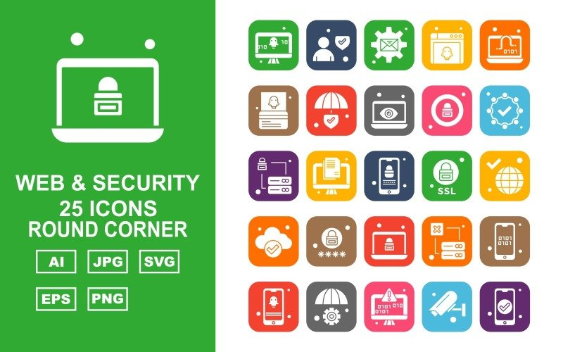 Набор из 25 круглых угловых значков премиум-класса для Интернета и безопасности