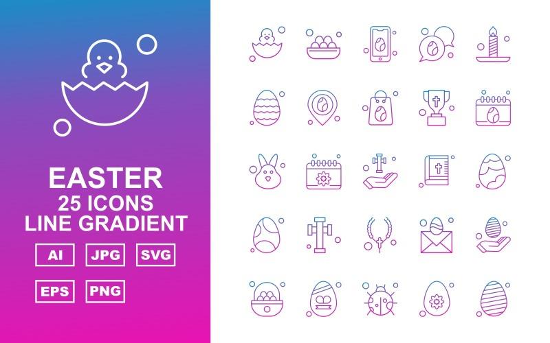 Набор из 25 премиальных пасхальных градиентных иконок