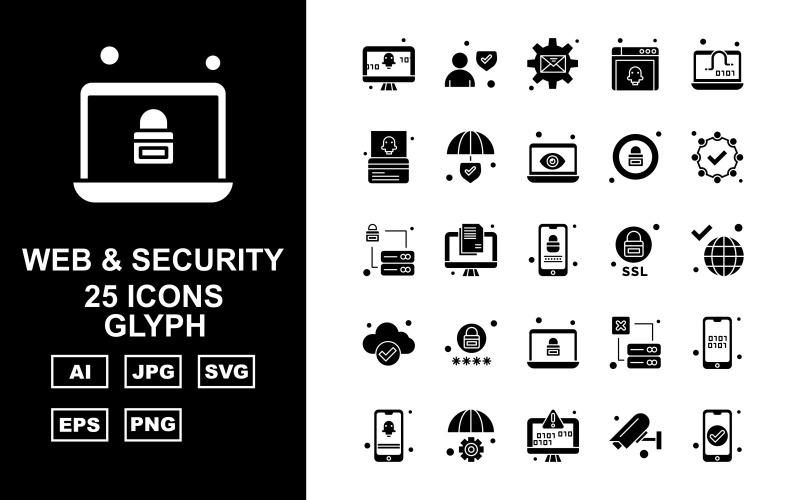 Набор из 25 значков премиальных веб-символов и символов безопасности