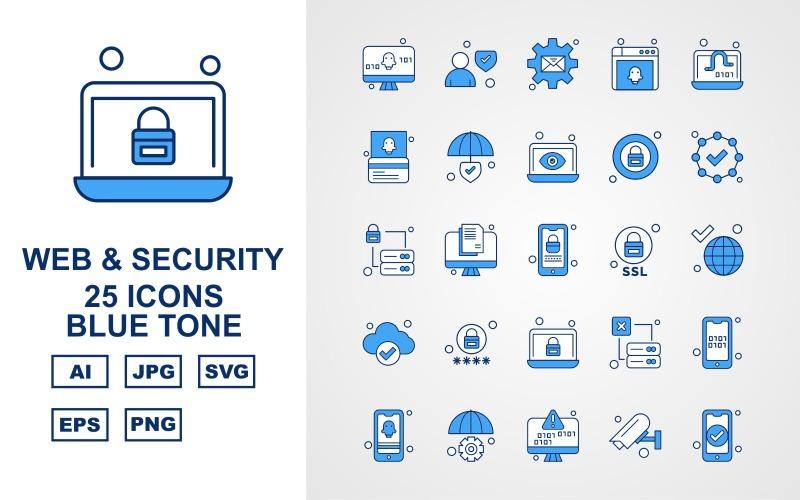 Набор из 25 значков синего тона премиум-класса для Интернета и безопасности