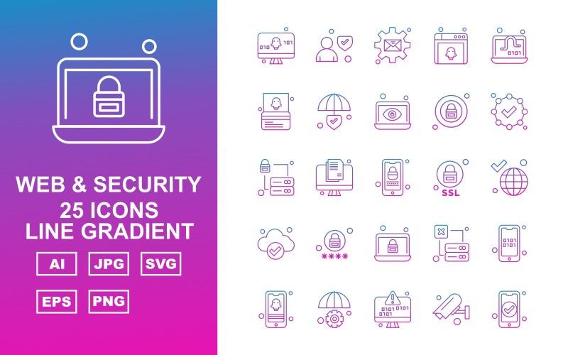 25 премиальных веб-сайтов и наборов иконок с градиентом линии безопасности