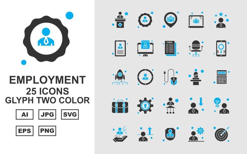 Набор двухцветных значков 25 премиальных символов занятости