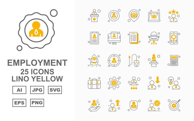 Набор из 25 желтых значков Premium Employment Lino