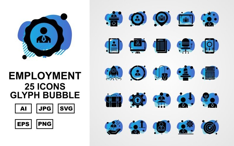Набор из 25 значков пузыря с глифами премиум-класса