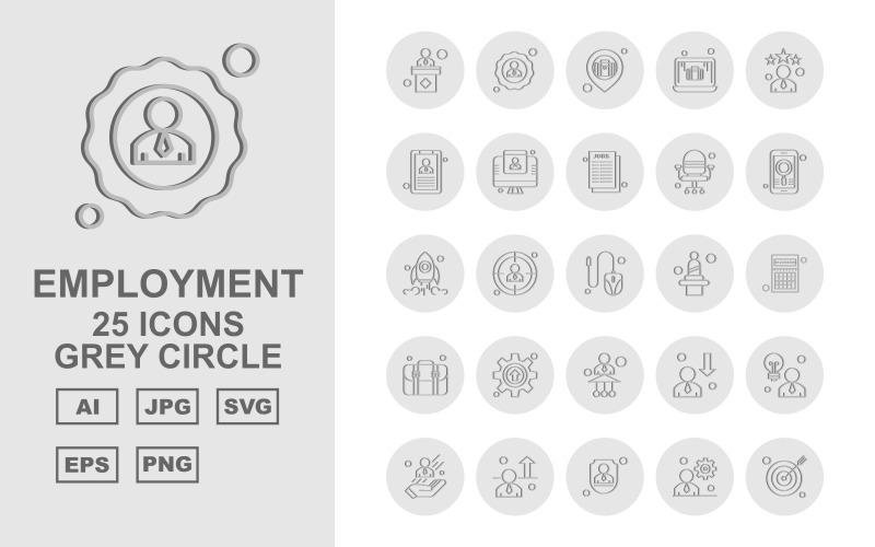 Набор значков серого круга 25 премиум-класса