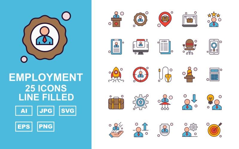 25 премиальных линий занятости заполнены набор иконок