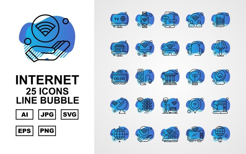 25 Премиум Интернет II Line Bubble Icon Set