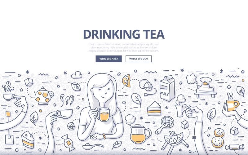 Концепция каракули пить чай - векторное изображение