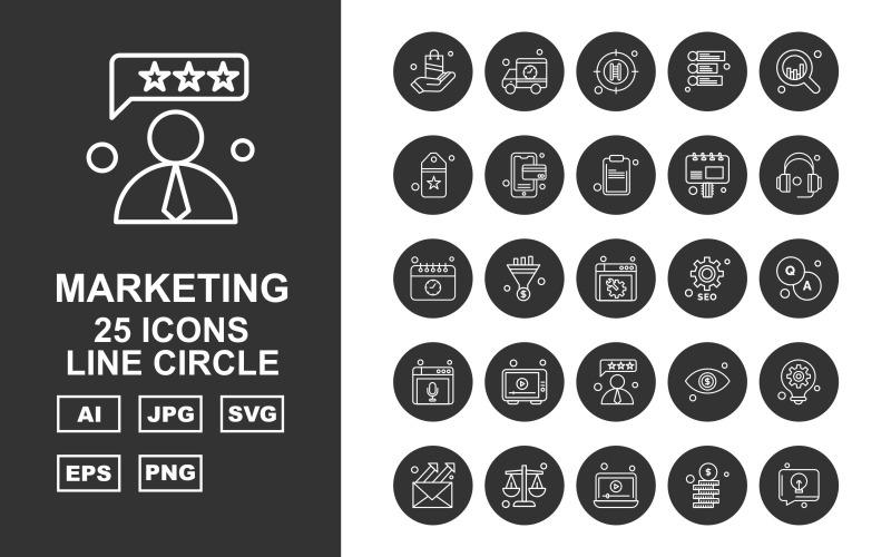 Набор иконок 25 Premium Camping Line Circle