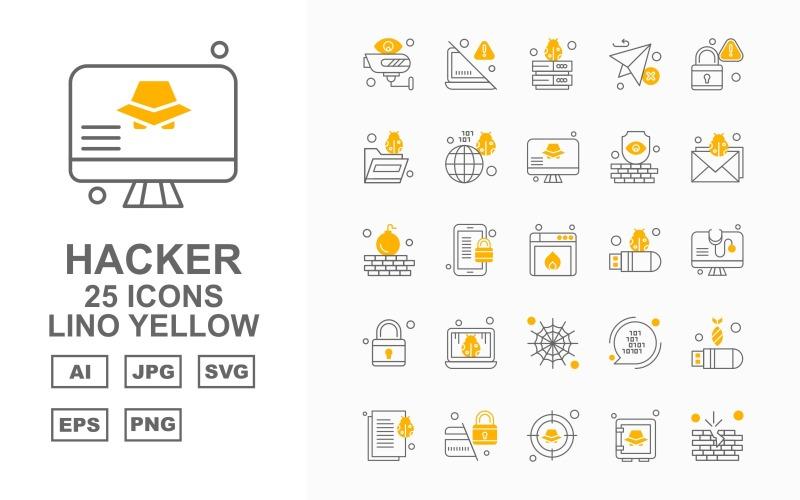 Набор иконок 25 премиум-хакеров с синим кругом