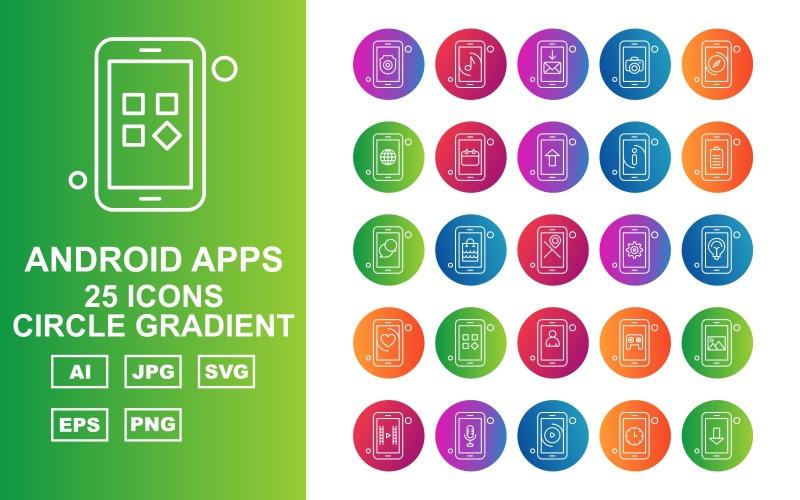 Набор иконок 25 премиум-приложений для Android с круговым градиентом