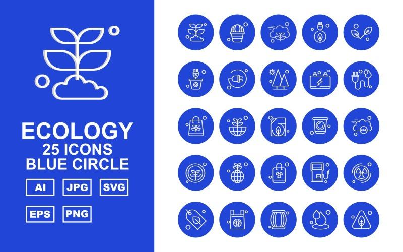 Набор иконок с синим кругом из 25 премиальных армейских войн