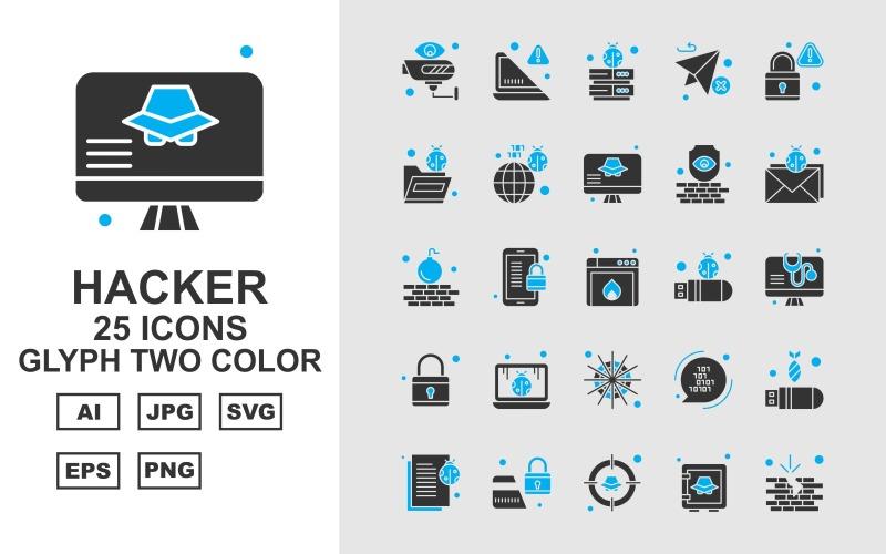 Набор из 25 двухцветных значков премиум-хакерских символов
