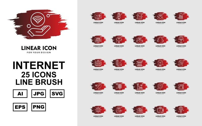 Набор из 25 кистей Premium Internet II Line Brush Icon Set